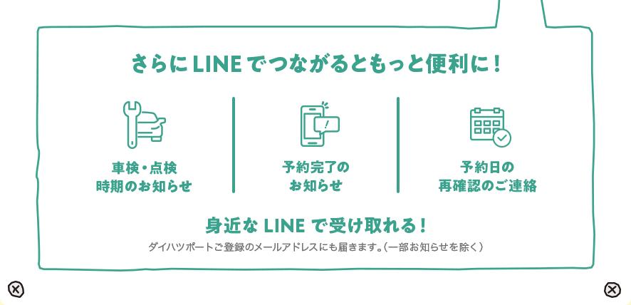さらにLINEでつながるともっと便利に! 車検・点検時期のお知らせ 予約完了のお知らせ 予約日の再確認のご連絡 身近なLINEで受け取れる!